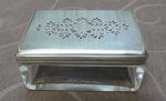 Dressing case content  - Rectangular glass box with silver lid; 1850; O2017.107.08
