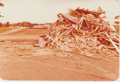 Pony Club Headquarters demolition in Bells Road; La Roche, Alan; 9/05/1979; 2018.123.52