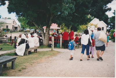 The Smiths' Locksmiths Manukau City Brass Band performing at the Howick Historical Village; c2003; P2021.112.04