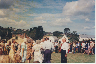 Crowds of people at the opening of the Historic Village; 8/03/1980; 2019.100.56