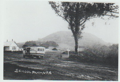 Panmure School and motor bus; 2019.056.01