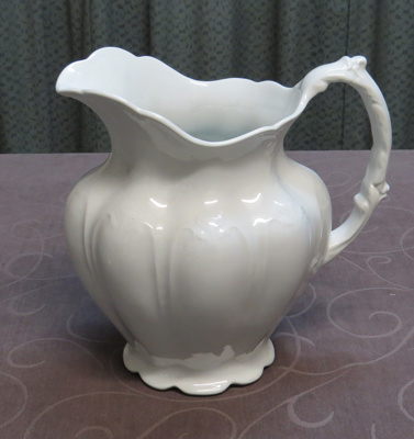 White Ceramic glazed pitcher; Hanley, Stoke on Trent; 1883; O2017.100.01