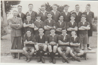Howick District High School Secondary Rugby Football team; Sloan Photo Service; 1949; 2019.072.03
