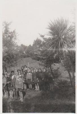 Howick District High School Form I pupils planting trees; La Roche, John; c1947; 2019.049.02