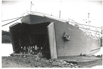LST Rawhiti in Tamaki River, Pakuranga at McCallums's landing.; 1947; 2016.497.100