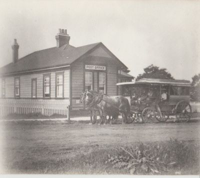 Howick Post Office and horse bus; Judkins, A J T; c1910; 2018.077.09