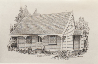 Sergeant Barry's cottage in the Garden of Memories; Kenyon, J; 1/10/1977; 2019.095.02