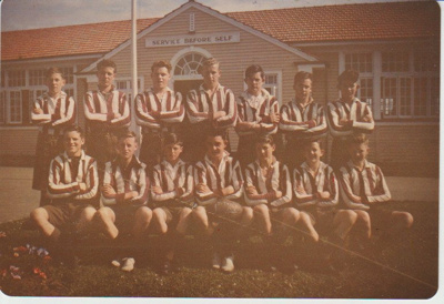 Howick District High School Rugby Football team.; Sloan Photo Service; 1948; 2019.072.10