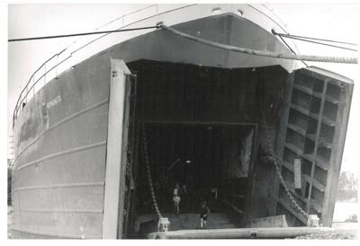 LST Rawhiti in Tamaki River, Pakuranga at McCallums's landing.; 1947; 2016.497.98