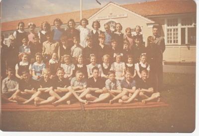 Howick District High School class with a teacher; 1948-1950; 2019.080.06