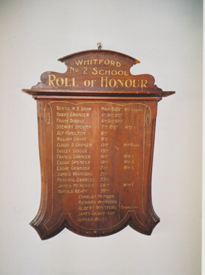 The roll of honour plaque at Whitford no 2 school; 1890; 2019.085.01