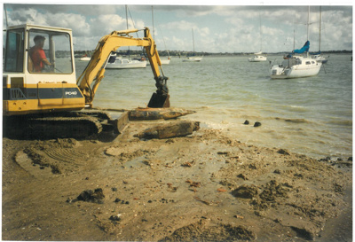 Bucklands Beach Wharf piles being removed.; Westley, John; 1/05/1997; 2017.037.90