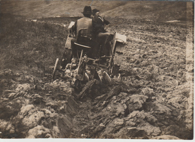 Early tractor ploughing in South Auckland.; c1920s; 2017.587.42