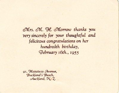 Thank you card for Mariamne Morrow's 100th birthda...