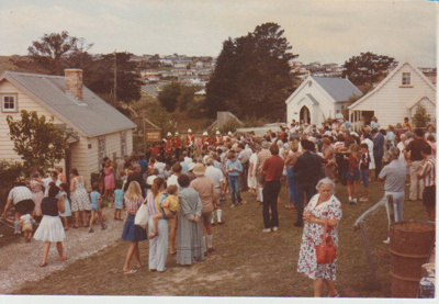 Crowds of people probably on an open day at HHV; La Roche, Alan; 1983; 2019.109.01