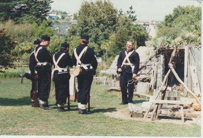 65th regiment at their camp at the opening of White's Homestead; 16/03/1997; 2019.107.06