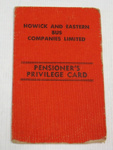 Pensioner Card for Howick buses; O2017.135