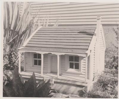 Miniature replica of a double-unit Fencible pensioner's cottage; c1968; 2019.091.09