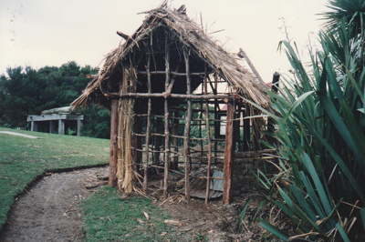 The mail runner's cottage showing the framework under construction at Howick Historical Village.; La Roche, Alan; June 1992; )2021.83.29