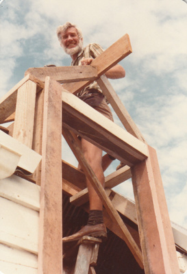 Ian George working on the roof of the Coachhouse in the Howick Historical Village. ; La Roche, Alan; 26 February 1983; P2021.24.02