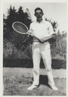Bert Brickell at the Howick Tennis Club.; c1922; 2018.311.16