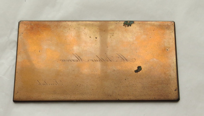 Brass printing plate for name cards; Hughes & Kimber, Manufacturers, London EC
