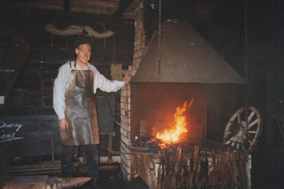 An unnamed volunteer in Wagstaff's Forge in Howick Historical Village on a Live Day. ; P2021.05.04