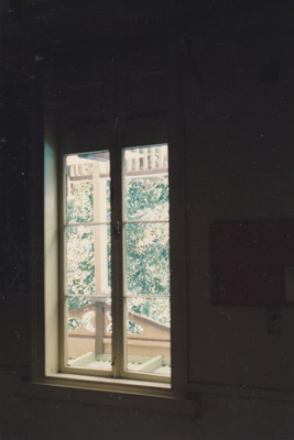 A dining room window in Puhinui at its first site in HHV.; 1982; P2020.14.32