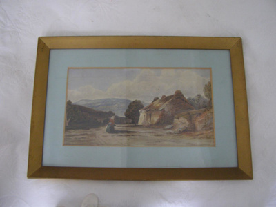 Watercolour of a woman in the countryside next to ...