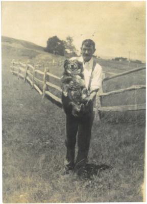 Charles Sutcliffe on the farm at Ormiston Road; 1920-1925; 2017.131.01