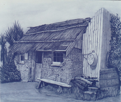 A drawing of the Sod Cottage, Howick Historical Village.; P2020.47.03