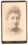 Carte de Visite of bust of unknown woman with bar brooch.; Hanna, photo studio; 2010.91.1