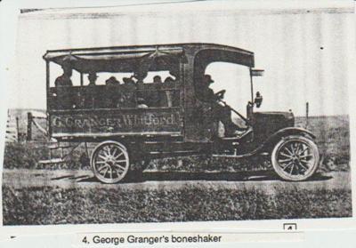 George Granger's bus (boneshaker) at Whitford.; 2017.416.22