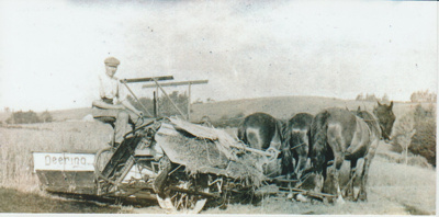 Reaper and binder at Bell Farm.; c1910; 2017.569.14