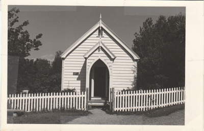 Front view of the Howick Methodist Church in the Howick Historical Village.; 1987; P2020.34.03