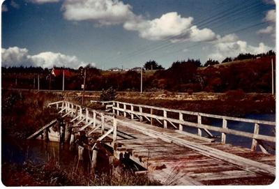 Whitford road bridge over the Turanga River. The s...