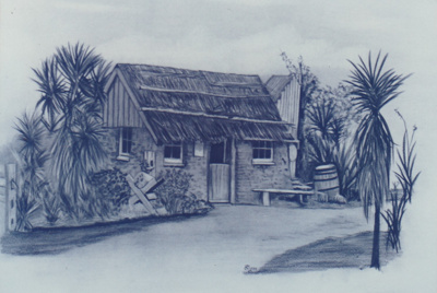A drawing of the Sod Cottage, Howick Historical Village.; P2020.47.02