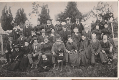 """50th Fencible Reunion showing some of the first settlers who arrived on the  """"Minerva"""" in 1897 in front of All Saints Church. Most named; 25 October 1897; P2021.158.01"""