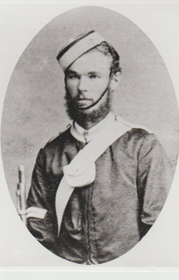 Sgt James Finnerty in the uniform of the Howick Militia.; c1870; 2018.337.01