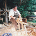 Grant Christianson, working as a bodger on a pole lathe at Howick Historical Village.; La Roche, Alan; P2021.87.06
