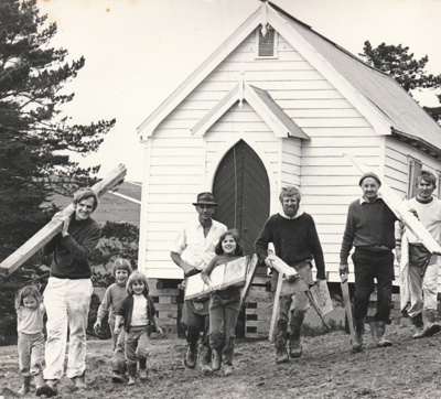 A working bee at the Howick Methodist Church in the Howick Historical Village. All named.; October 1977; P2020.39.01