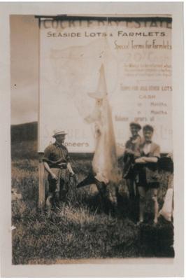 3 men and a shark at Cockle Bay; La Roche, Alan; 1925; 2017.202.13