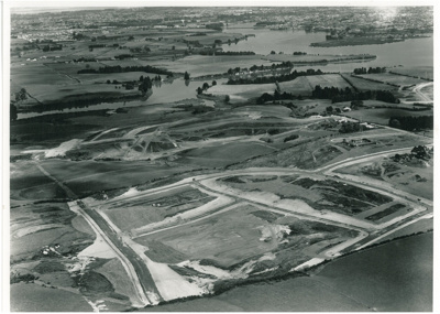 Aerial view Pakuranga and Tamaki River; Air Logistics (Whites Aviation); 3.3.1963; 2016.453.47