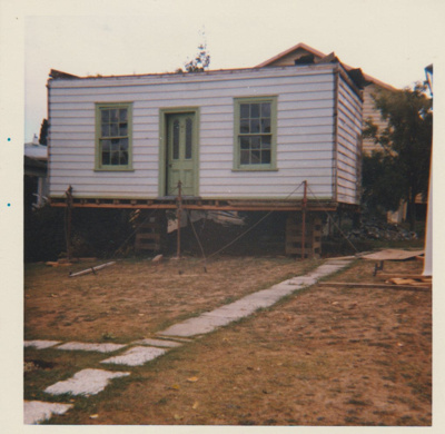 Sergeant Barry's cottage on blocls in the Garden of Memories,awaiting removal.; La Roche, Alan; 1/04/1974; 2019.094.03