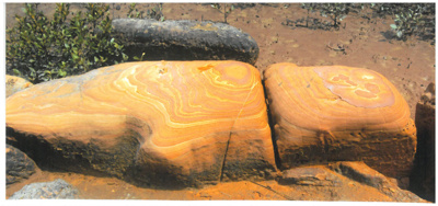 Sandstone rocks on the banks of the Waikopua Stream; La Roche, Alan; 1/09/2010; 2017.092.43