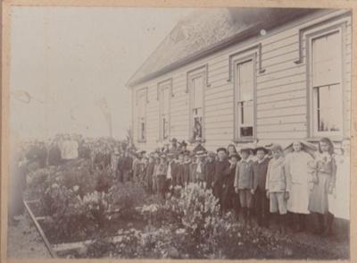 Pupils at Pakuranga School behind the flower gardens 1899; Roberts, Gordon, Auckland; 15 December 1899/1900; 2019.028.01