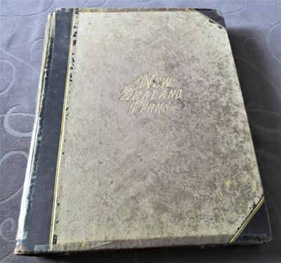 Hardcover book with cover made of vellum and leath...