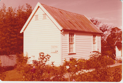 The old Howick Courthouse in the Garden of Memories; 1/04/1978; 2019.093.05