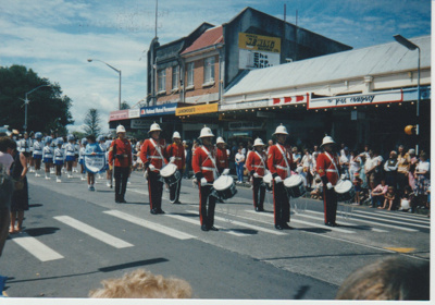 The Howick Band and marching girls in the Christmas Parade; 1986; 2016.222.56