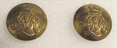 Two brass buttons from the Military uniform of Pri...